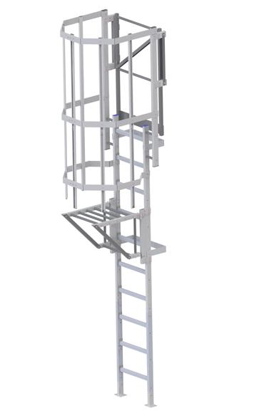 Steigleiter mit Zugangssicherung drehbar