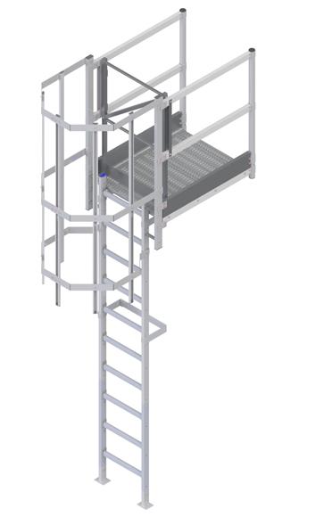 Steigleiter + Ausstieg mit Übergang