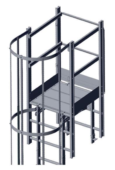Steigleitern mit Ausstieg über Übergänge