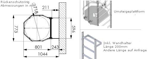 Schema der Steigleiter mit Umsteigeplattform