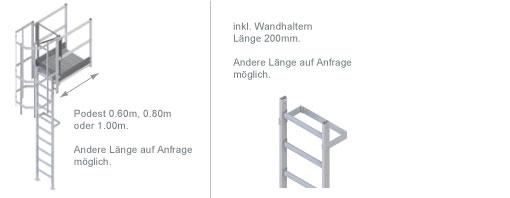 Schema der Steigleiter mit Ausstieg über Übergänge