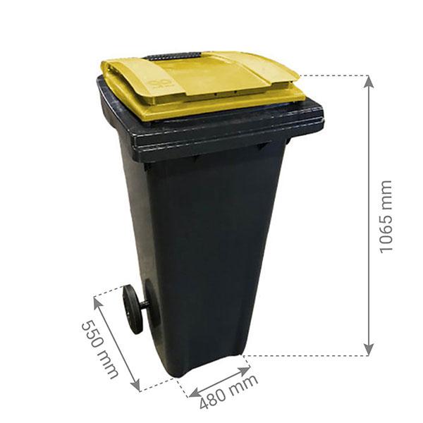 conteneur 140L couvercle jaune citron dimensions