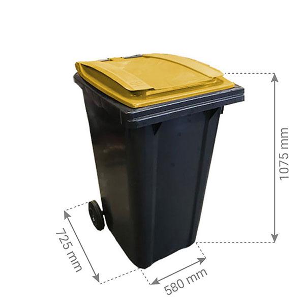 conteneur 240L couvercle jaune citron dimensions