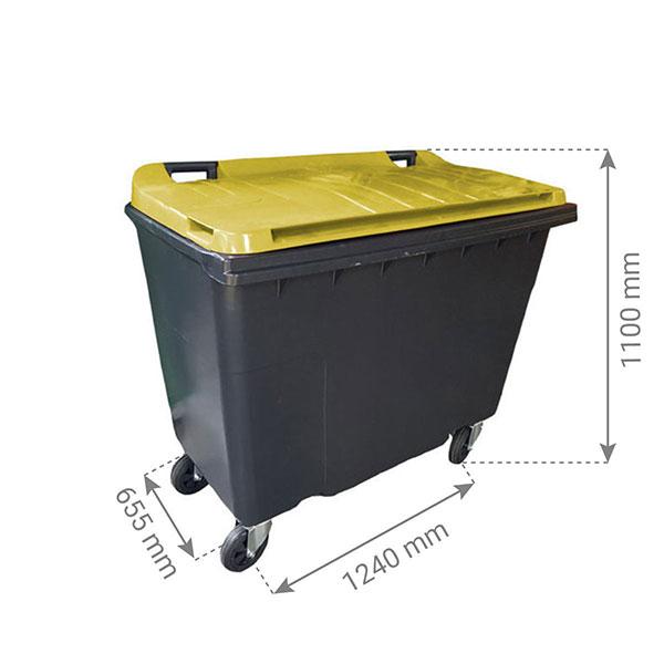 conteneur 500L couvercle jaune citron dimensions