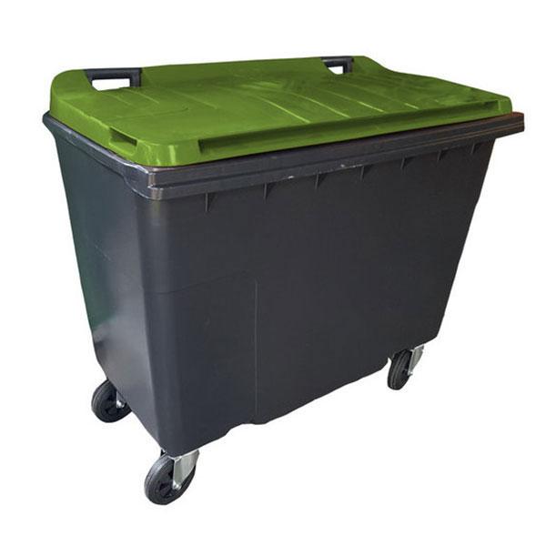 conteneur frontal 500L couvercle vert kaki