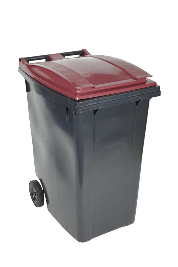 poubelle 360l bordeaux