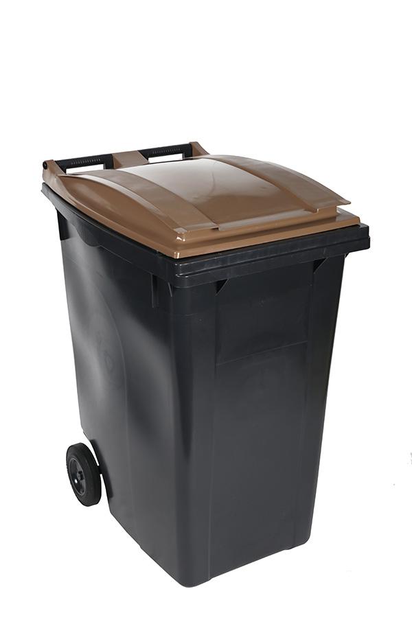 poubelle 360l marron