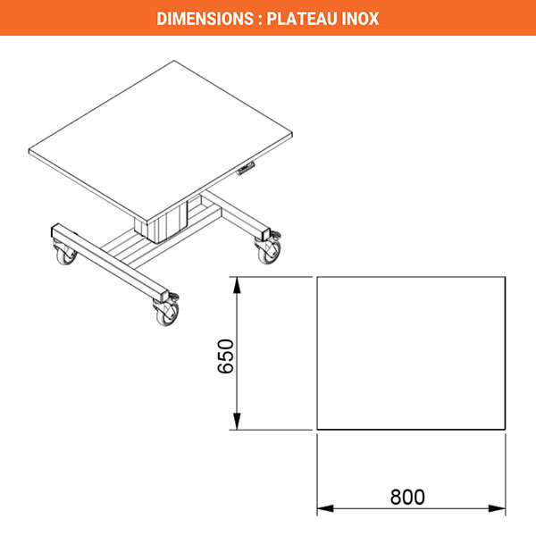dimensions plateau inox