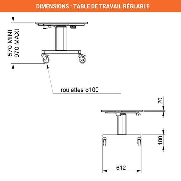 dimensions table travail reglable inox