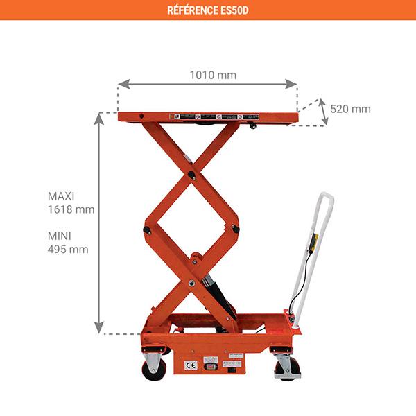 dimensions tables elevatrices mobile ES50D