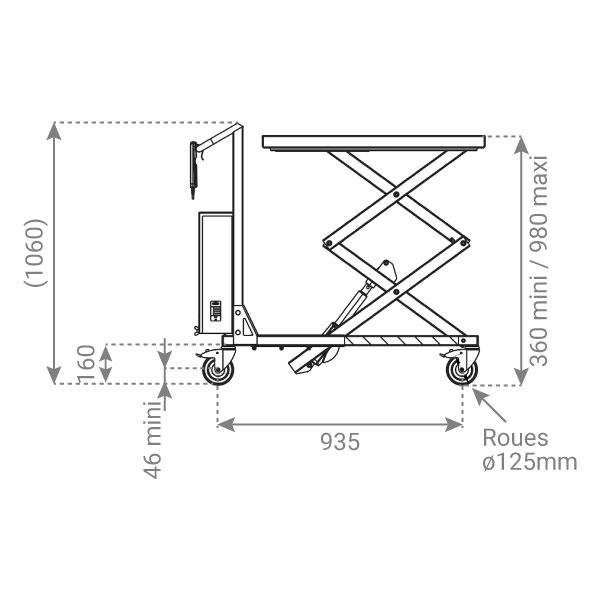 plan table elevatrice inox electrique 1