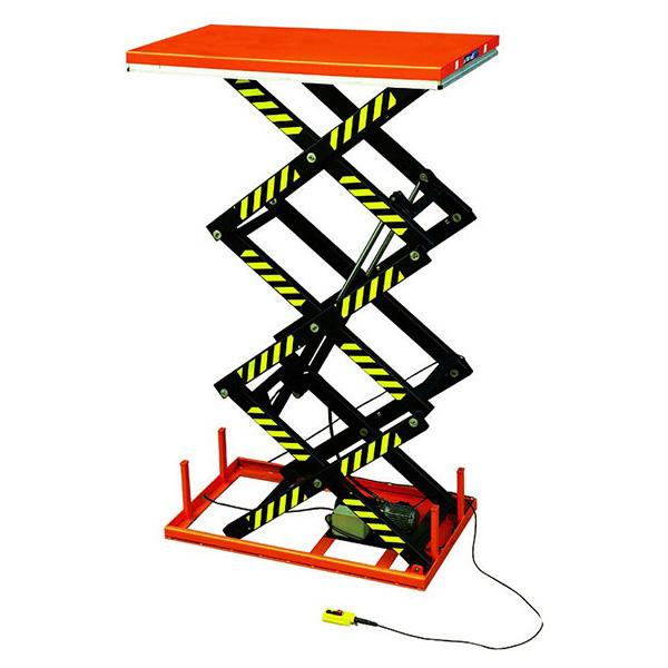 Table élévatrice grande hauteur électrique trois ciseaux