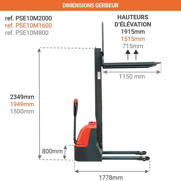 dimensions gerbeur electrique compact PSE10M