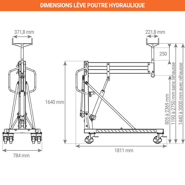 dimensions leve poutre hydraulique