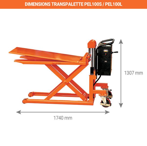 dimensions tranpalette haute levee electrique PEL100