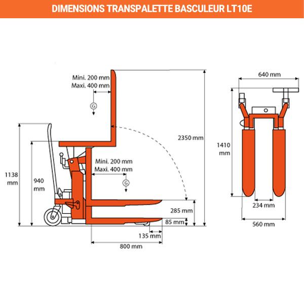 dimensions transpalette basculeur electrique