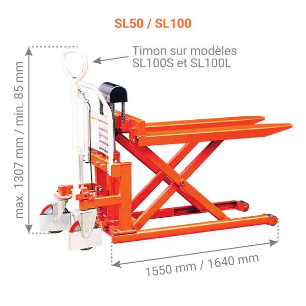 dimensions transpalette haute levee manuel SL100
