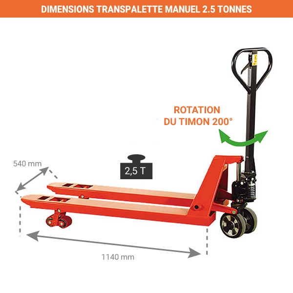 transpalette manuel dimensions fourches