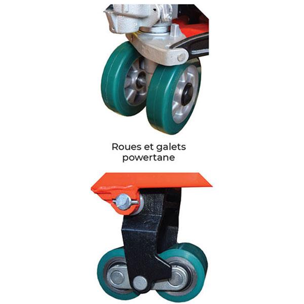 transpalette manuel silencieux roues