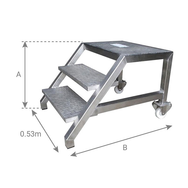 schema plattformleiter edelstahl 53cm